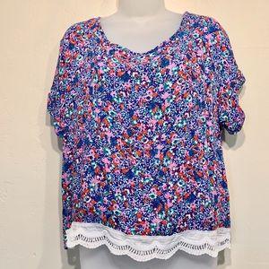 Cut + Sew | Floral Pattern Lace Hem Boxy Blouse